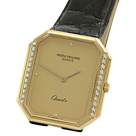 Patek Philippe 3853 18K Yellow Gold with Diamond Quartz Vintage 30mm Mens Watch