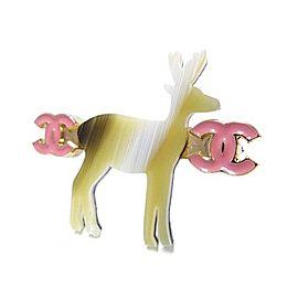Chanel Pink Gold Tone Metal Motif Coco Mark Reindeer Pin Brooch