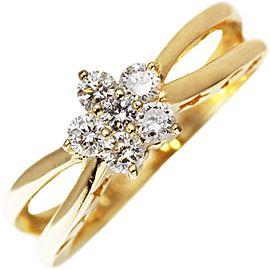 Ponte Vecchio 18k Yellow Gold Flower 0.30ct. Diamond Ring Size 5