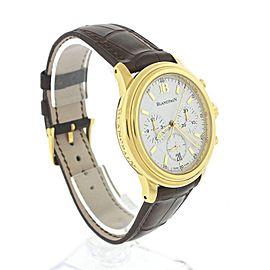 Blancpain Leman Chronograph 2185-1418-53 18K Yellow Gold White Dial 38mm Mens Watch