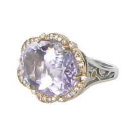 Tacori Color Medley 18K Rose Gold & 925 Sterling Silver Diamond & Amethyst Ring Size 7
