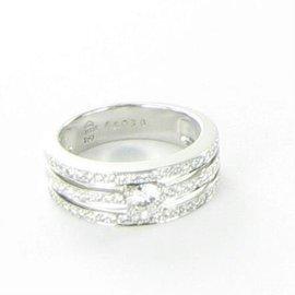 Kwiat 18K White Gold with 0.70ct Diamond 3 Row Band Ring Size 6.75