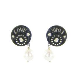 Tous 925 Sterling Silver & Pearl Disk Dangling Earrings