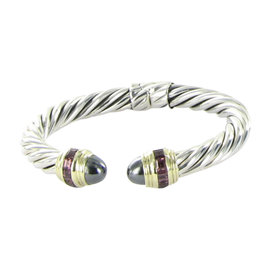 David Yurman Renaissance Carre 14K Yellow Gold and Sterling Silver with Amethyst and Iolite Carre Bracelet