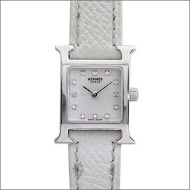 Hermes H HH 1.190 White Gold / Leather Quartz 24.5mm Womens Watch