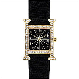 Hermes Lagdyer H HH1.286 Yellow Gold / Leather Quartz 30mm Womens Watch