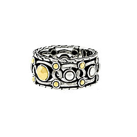 John Hardy 18K Yellow Gold and 925 Sterling Silver Band Ring Size 7.5