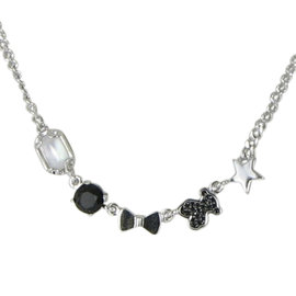 Tous 925 Sterling Silver Black Onyx Quartz Spinel Bear Choker Necklace
