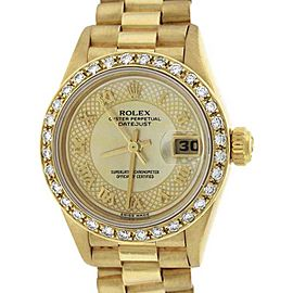 Rolex Datejust President 69178 18K Yellow Gold Champagne Custom Mother of Pearl Diamond 26mm Womens Watch