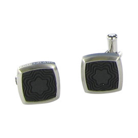 Montblanc Stainless Steel Black Rubber Square Cufflinks