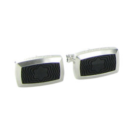 Montblanc Contemporary Stainless Steel Black Rubber Rectangular Cufflinks