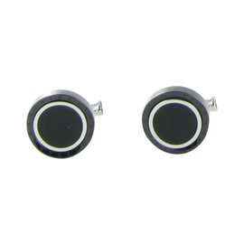 Montblanc Contemporary Stainless Steel Black PVD Onyx Cufflinks