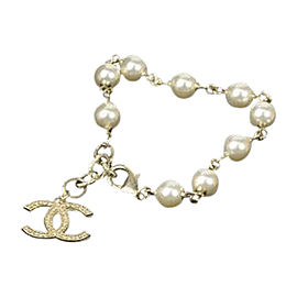 Chanel A15C Gold Tone Hardware Simulated Glass Pearl Coco Mark Bracelet