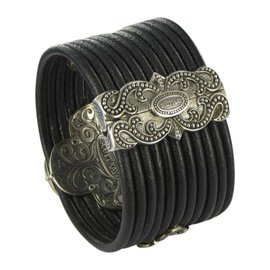 Scott Kay 925 Sterling Silver & Black Leather with 0.75ct Spinel & 0.30ct Sapphire Large Cross Bracelet