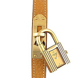 Hermes Kelly Gold Plated & Leather Quartz 20mm Women Watch