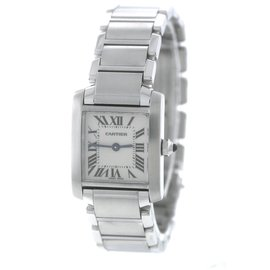 Cartier Tank Francaise W51008Q3 2384 Stainless Steel Ivory Dial Quartz 20.25mm Womens Watch