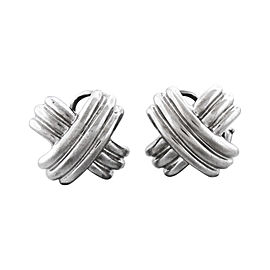 Tiffany & Co. 18K White Gold X Shape Vintage Earrings