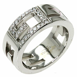GUCCI 18K White Gold G logo Diamond Ring TNN-2026