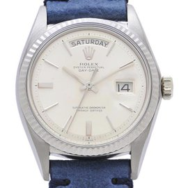 Rolex Day Date 1803 18K White Gold & Leather Automatic 36mm Mens Watch
