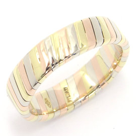 Bulgari Tubogas 750 White, Yellow & Rose Gold Ring Size 4.25