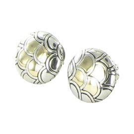 John Hardy Naga 18K Yellow Gold & 925 Sterling Silver Button Earrings