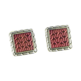 John Hardy 925 Sterling Silver Red Classic Chain Square Cufflinks