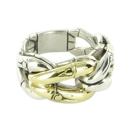 John Hardy Bamboo Link 18K Yellow Gold Sterling Silver Band Ring Size 7