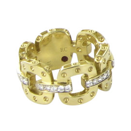 Roberto Coin Pois Moi 18K Yellow Gold and 0.30ct. Diamond Link Band Ring Size 6.5