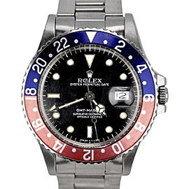 Rolex GMT-Master 16750 Stainless Steel Pepsi Blue Red Patina 40mm Mens Watch 1986