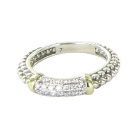 Lagos Caviar 18K Yellow Gold & 925 Sterling Silver with 0.31ct Diamond Stacking Ring Size 7