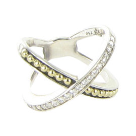 Lagos KSL 18K Yellow Gold & 925 Sterling Silver with 0.29ct Diamond X Beaded Cross Ring Size 7