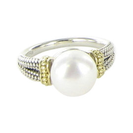 Lagos Caviar 18K Yellow Gold & 925 Sterling Silver with Luna Pearl Ring Size 7