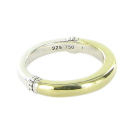 Lagos Caviar 18K Yellow Gold & 925 Sterling Silver Stacking Ring Size 7