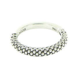 Lagos Caviar 925 Sterling Silver Beaded Stacking Ring Size 7