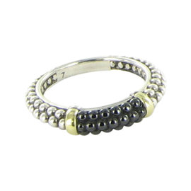 Lagos Black Caviar 925 Sterling Silver, 18K Yellow Gold and Ceramic Stacking Ring Size 7