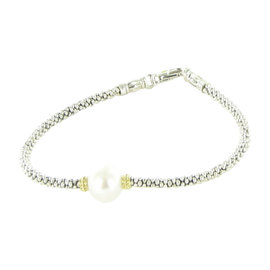 Lagos Luna Caviar 18K Yellow Gold and 925 Sterling Silver with Pearl Bracelet
