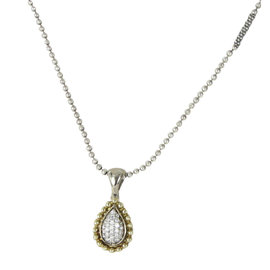 Lagos Caviar 925 Sterling Silver & 18K Yellow Gold with Pave 0.40ct Diamond Teardrop Pendant Necklace