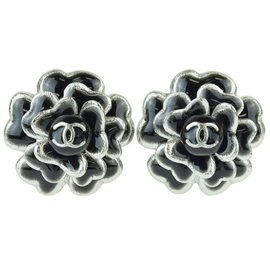 Chanel Silver Tone Hardware Camellia Coco Mark Earrings