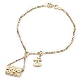 Chanel Gold Tone Hardware Matelasse Coco Mark Bracelet