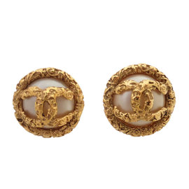 Chanel Gold Tone Hardware with Simulated Glass Pearl Clip Earrings