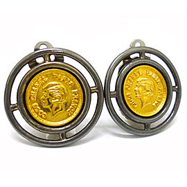 Chanel Gold and Silver Tone Hardware Coin Earrings