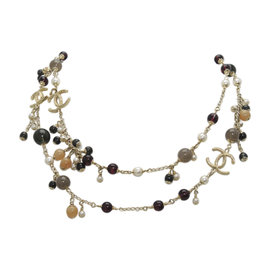 Chanel Gold Tone Hardware with Glass Simulated Pearl Necklace