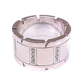 Cartier Tank Francaise 18K White Gold with Diamond Ring Size 6