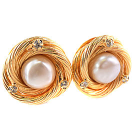 Chanel Gold Tone Glass Simulated Pearl Earrings