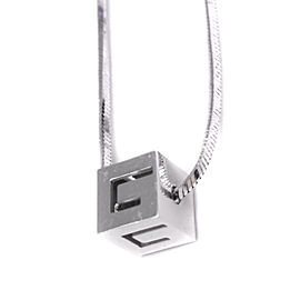 Gucci 18K White Gold G Cube Necklace