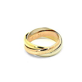 Cartier Trinity Ring 18K Yellow White & Rose Gold Size 6.75