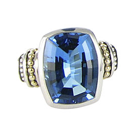 Lagos Signature Caviar 925 Sterling Silver and 18K Yellow Gold with Blue Topaz Ring Size 7