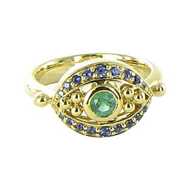 Temple St. Clair 18K Yellow Gold with 0.48ctw Emerald and 0.436ct Sapphires Evil Eye Ring Size 6.5