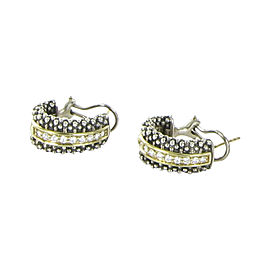 Lagos Caviar 18K Yellow Gold and 925 Sterling Silver With 0.64ctw Diamond Huggie Earrings