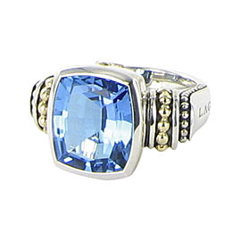 Lagos Signature Caviar 18K Yellow Gold and 925 Sterling Silver with Blue Topaz Ring Size 7